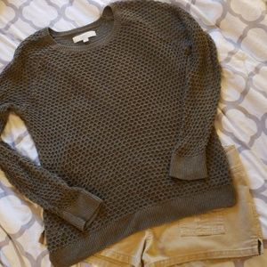 Olive Green Crochet Knit Pullover Sweater